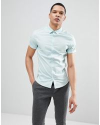 ASOS - Skinny Shirt In Light Green With Short Sleeves - Lyst