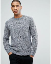 ASOS - Heavyweight Textured Jumper In Pale Blue - Lyst