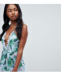 Missguided - Satin Tropical Print Lace Trim Teddy - Lyst