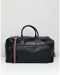 Tommy Hilfiger - Corporate Mix Faux Leather Weekender Bag In Black - Lyst