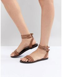 Dune - Tan Leather Studded Ankle Strap Sandal - Lyst