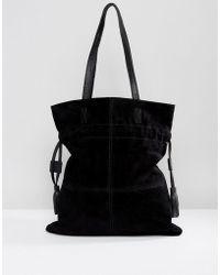 ASOS - Suede Drawstring Shopper Bag - Lyst