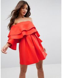 ASOS - Long Sleeve Ruffle Off Shoulder Mini Dress - Lyst