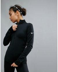 Nike - Pro Warm Half Zip Top In Black - Lyst