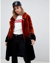 Urbancode - Longline Coat In Ombre Faux Fur - Lyst
