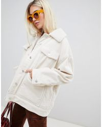 Weekday - Cord Teddy Jacket In Off White - Lyst