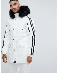 Sixth June - Parka Coat In White With Black Faux Fur Hood - Lyst