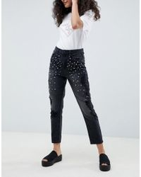 ONLY - Pearl Embellished Mom Jeans - Lyst