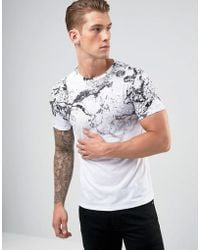 River Island - Muscle Fit T-shirt In Marble Fade Print - Lyst