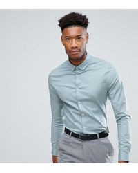ASOS - Tall Skinny Shirt In Slate With Button Down Collar - Lyst