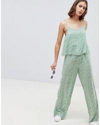 Ichi - Printed Loose Jumpsuit - Lyst