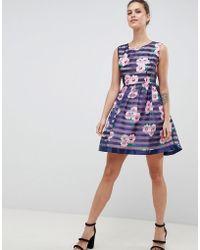Zibi London - Floral & Striped Skater Dress - Lyst