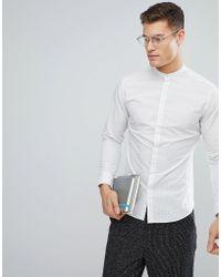 SELECTED - Slim Shirt In Pindot With Grandad Collar - Lyst