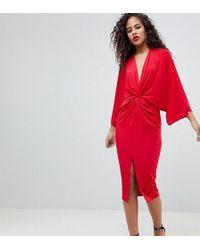 Flounce London - Wrap Front Kimono Midi Dress - Lyst