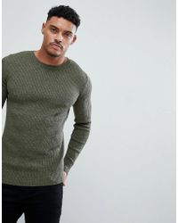 ASOS - Muscle Fit Ribbed Jumper In Khaki Twist - Lyst