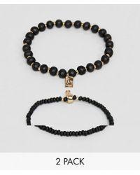 Icon Brand - Black Beaded Bracelet In 2 Pack - Lyst
