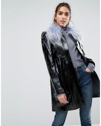 ASOS - Skater Coat In Patent With Faux Fur Collar - Lyst