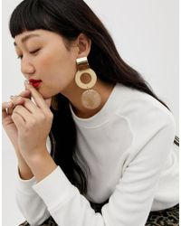 ASOS - Earrings In Statement Resin Circle Design In Gold - Lyst