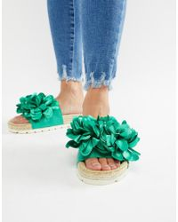 River Island - Sliders With Floral Detail In Green - Lyst