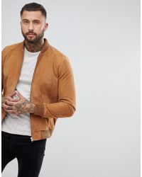 ASOS - Suede Bomber Jacket In Tan - Lyst