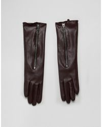 ASOS - Long Glove In Brown - Lyst