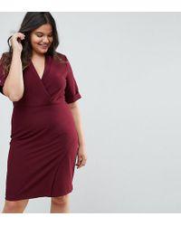 Closet London Plus - Wrap Front Dress - Lyst