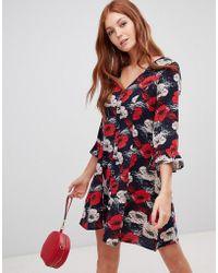 Vero Moda - Floral Ruffle Panel Skater Dress - Lyst e634132dc