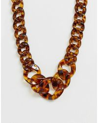 Pieces - Sierra Tortoiseshell Resin Chain Necklace - Lyst