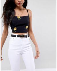 Glamorous - Black Round Double Circle Belt - Lyst