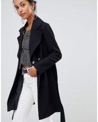 Oasis - Wrap Front Coat In Black - Lyst