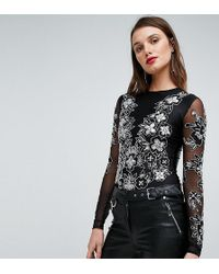 A Star Is Born - Embellished Bodysuit With Embellishment And Embroidery - Lyst