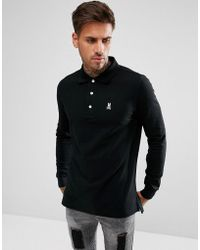 Psycho Bunny - Classic Long Sleeve Polo Regular Fit In Black - Lyst
