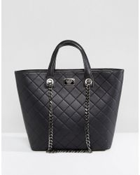 Marc B. - Quilted Tote Bag With Chain Detail In Black - Lyst