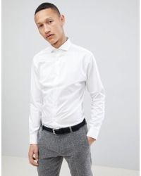 SELECTED - Slim Fit Smart Shirt With Spread Collar - Lyst