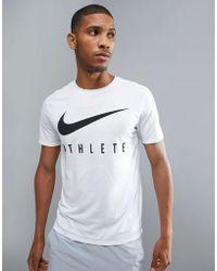 Nike - Dry Athlete Logo T-shirt In White 739420-100 - Lyst