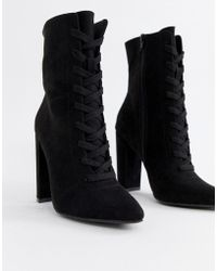 ASOS - Elicia Lace Up Heeled Boots - Lyst