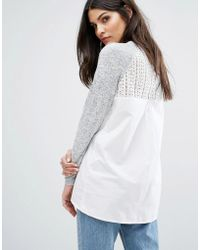 Warehouse | Mixed Fabric Lace Jumper | Lyst