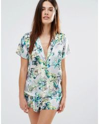 Wolf & Whistle - Wolf And Whistle Floral Satin Short And Short Pyjama Set - Lyst