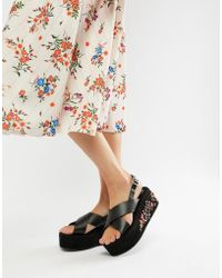 Glamorous - Black Embroidered Flatform Sandals - Lyst