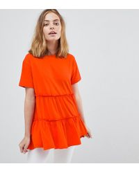 ASOS - T-shirt With Tiered Smock Hem - Lyst