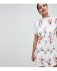Boohoo - Floral Pleated Skater Dress - Lyst