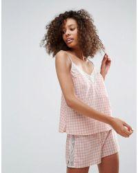 Monki - Gingham Short Pyjama Set - Lyst