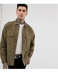 Heart & Dagger - Drapey Military Shirt In Khaki - Lyst