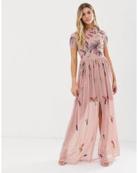 9d00a5e82c1e2 Frock and Frill - Floral Embellished Maxi Dress In Dusky Rose - Lyst