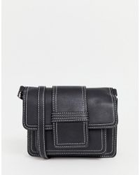New Look - Contrast Stitch Cross Body In Black - Lyst