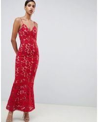 7ff4d19494 Jarlo - Cami Strap Allover Lace Maxi Dress In Red - Lyst