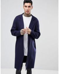 ASOS - Asos Longline Knitted Duster Jacket In Navy - Lyst