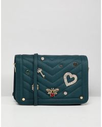 Dune - Devania Black/ Teal Embellished Cross Body Bag - Lyst