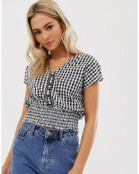 Pimkie - Top With With Shirred Waist In Gingham Print - Lyst