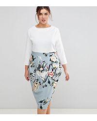 Closet London Plus - 2 In 1 Contrast Floral Pencil Dress - Lyst